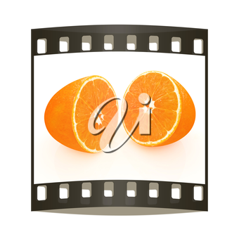 half oranges on a white background. The film strip