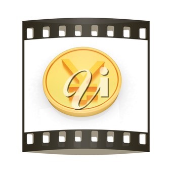 Gold coin with yen sign on a white background. The film strip
