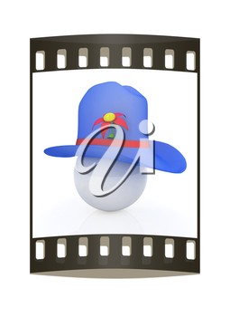 Blue hat on a blue hat with fantastic flower on white background. 3d. The film strip