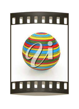 3d colored ball on a white background. The film strip