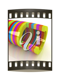 3d colorful abstract cut pipe on a white background. The film strip