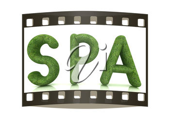Spa 3D text from a green grass on a white background. The film strip
