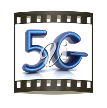 5g internet network. 3d text. The film strip