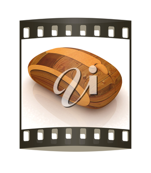 Wooden computer mouse on white background. The film strip
