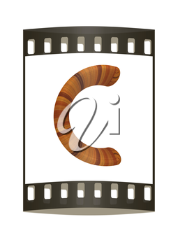 Wooden Alphabet. Letter C on a white background. The film strip