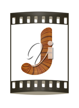 Wooden Alphabet. Letter J on a white background. The film strip