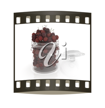 Bank of fresh cherries on a white background . The film strip