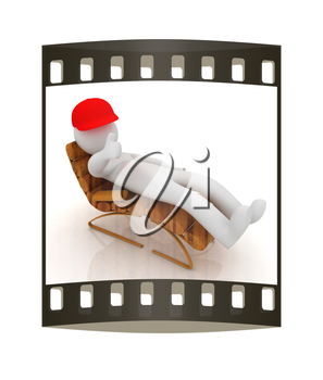 3d white man lying wooden chair with thumb up on white background. The film strip