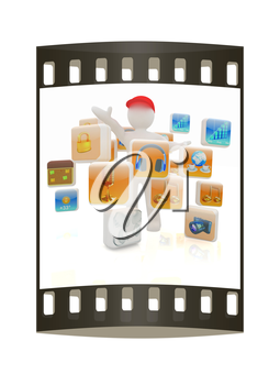 3d man with cloud of media application Icons on a white background. The film strip