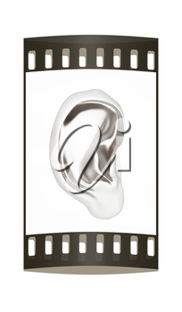 Ear metal 3d render isolated on white background. The film strip
