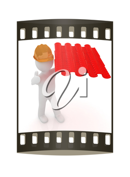 3d man presents the roof tiles on a white background. The film strip