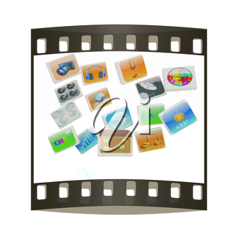 Cloud of media application Icons on a white background. The film strip