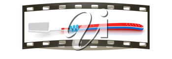 Toothbrush on a white background. The film strip. The film strip