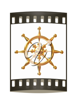 Gold steering wheel on a white background. The film strip