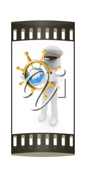 Sailor with gold steering wheel and earth. Trip around the world concept on a white background. The film strip