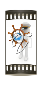 Sailor with wood steering wheel and earth. Trip around the world concept on a white background. The film strip