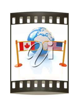 Three-dimensional image of the turnstile and flags of USA and Canada on a white background. The film strip