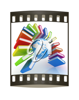 Colorful books like the rainbow and earth on a white background. The film strip