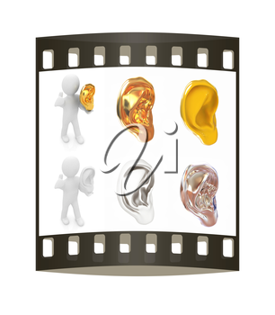 Ear set on a white background. The film strip