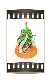 Christmas tree and gifts on a white background. The film strip