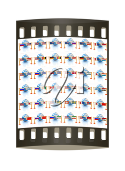 Set of three-dimensional image of the flags of world on a white background. The film strip