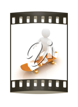 3d white person with a skate and a cap. 3d image on a white background. The film strip