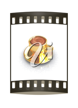 Gold coffee cup on saucer on a white background. The film strip