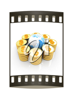 Gold dollar coin stack around the Earth isolated on white. The film strip