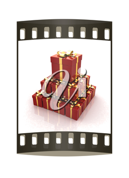 Bright christmas gifts on a white background. The film strip
