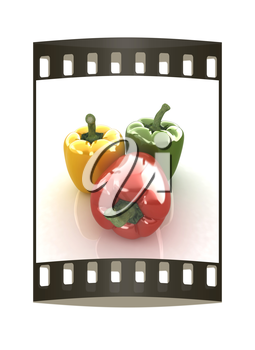 sweet pepper on white background. The film strip