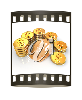 gold coin ctack around hard hat on a white background. The film strip