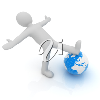 3d man and earth. Global business concept: the whole earth at my feet