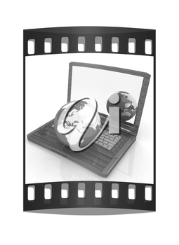 Eco Wooden Laptop and Earth on white background. The film strip