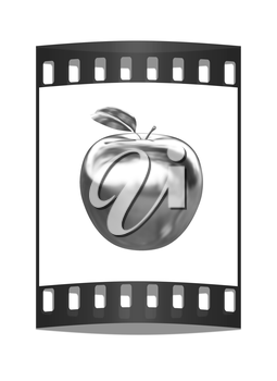 Metal apple isolated on white background. The film strip
