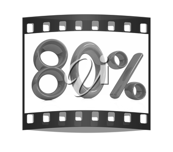 3d red 80 - eighty percent on a white background. The film strip