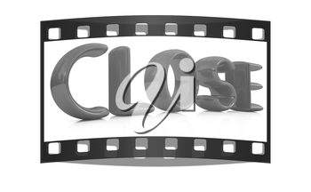 3d red text close on a white background. The film strip