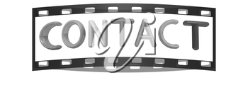 3d text contact on a white background. The film strip