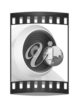 Web-cam and earth. Global on line concept on a white background. The film strip