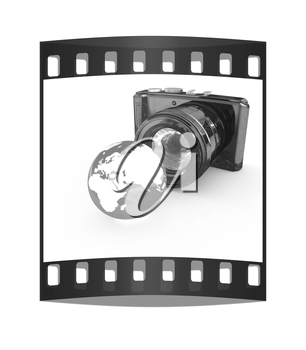 3d illustration of photographic camera and Earth on white background. The film strip