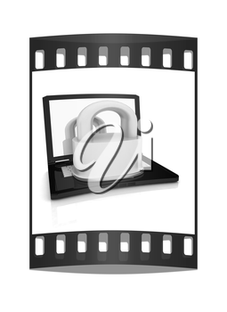 Computer security concept on a white background. The film strip
