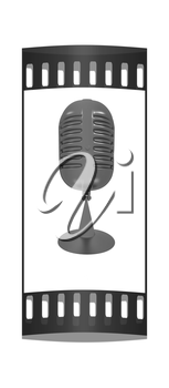 gray carbon microphone icon on a white background. The film strip