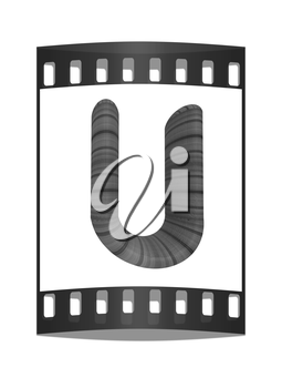 Wooden Alphabet. Letter U on a white background. The film strip