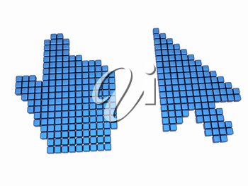 Set of Link selection computer mouse cursor on white background