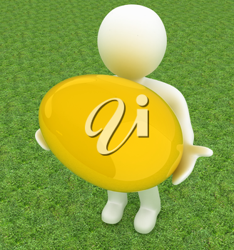 3d small person holds the big Easter egg in a hand. 3d image. On green grass