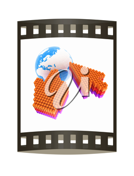 Link selection computer mouse cursor and Earth - Glodal internet concept on white background. The film strip
