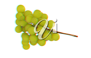Grapes isolated on white background. 3D illustration. Anaglyph. View with red/cyan glasses to see in 3D.
