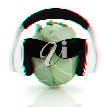 Green cabbage with sun glass and headphones front face on a white background. 3D illustration. Anaglyph. View with red/cyan glasses to see in 3D.