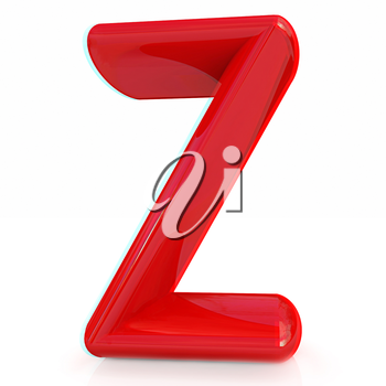 Alphabet on white background. Letter Z on a white background. Anaglyph. View with red/cyan glasses to see in 3D. 3D illustration