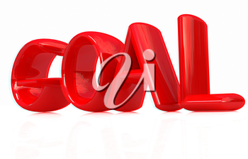 The word Goal on a white background. 3D illustration. Anaglyph. View with red/cyan glasses to see in 3D.