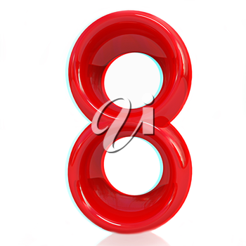 Number 8- eight on white background. Anaglyph. View with red/cyan glasses to see in 3D. 3D illustration